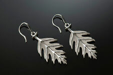 Sterling Silver High Relief, Hand Finished and Unique Oak Leaf Earrings
