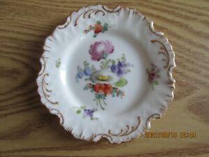 Vintage Dresden Porcelain Hand Painted Floral Fluted Trinket Dish