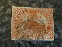 CANADA POSTAGE STAMP SG8 THREE PENCE 4 MARGIN BROWN/RED IMPERF FINE USED