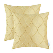 2pcs Cushion Covers Pillow Caes Ground Embroidery Waves Home Decor Gold 45x45cm