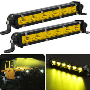 "2x 7"" inch Yellow 18W Led Work Light Bar Spot Offroad For SUV Boat Driving Lamp"