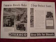 1940 Texaco Ursa Oil Ad; Cummins Diesel Engines in Cool Mack Heavy Trucks