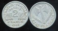 FRANCE WW2 2 francs 1943 ETAT FRANCAIS   ( ca )