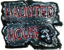 Gothic Warning Sign-HAUNTED HOUSE-Wall Door Plaque Halloween Prop Decoration-DIY