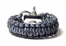 550  Military Paracord Survival Bracelet Titanium  S/S Shackle Hand Made USA