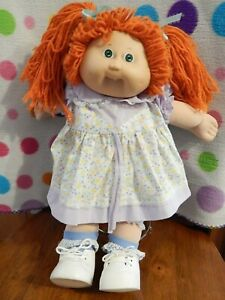 """Vintage Coleco 1985 CABBAGE PATCH KID DOLL Red Yarn Hair Green Eyes 16"""" #8"""
