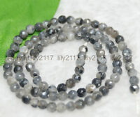 "Faceted 4mm Natural India Labradorite Gems Round Loose Beads 15"" Strand AAA"