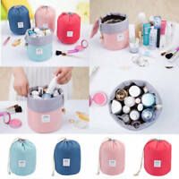 Women Makeup Drawstring Pouch Bucket Barrel Shaped Cosmetic Bag Travel Case EN