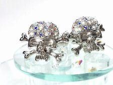 New Skull Motif Glitter Cufflinks SWAROVSKI Austrian-made Crystal Silver×Aurora