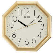 Seiko QXA668G OCTAGON Analogue Wall Clock - Gold