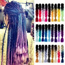 "24"" Kanekalon Jumbo Braiding Hair Extensions Afro Box Braids Ombre Rainbow Hair"