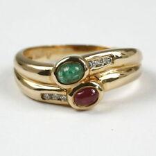 Ringe mit Rubin Edelsteinen aus Gelbgold echten Innenvolumen (18,1 mm Ø)