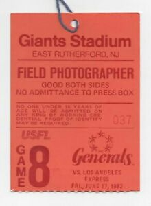 Media Credential: USFL 1983 - NJ Generals vs LA Express at Giants Stadium