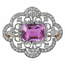 2.40ct NATURAL DIAMOND AMETHYST 14K YELLOW GOLD WEDDING ANNIVERSARY BROOCH