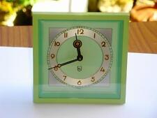 Magnífico Original Antiguo Art Deco Verde Esmalte Schuler Mantel O Reloj De Escritorio.