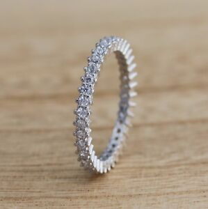 925 Sterling Silver Full Eternity Stacking CZ Band Ring Various Sizes