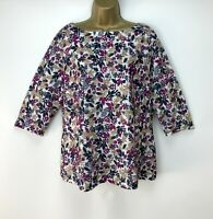 Floral Top UK Size 16 Raspberry Pink Navy Womens Casual Summer Holiday
