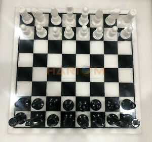"""18"""" Marble Handmade Chess Board Game With 4"""" King Pieces New Year Eve Gift H040"""