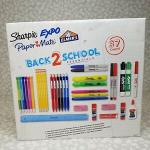 NEW Back 2 School Essentials Supplies 37 Pc Kit Sharpie Expo Elmer's Paper Mate