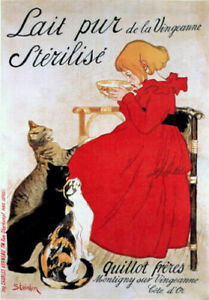Lait Pur Cats * THEOPHILE STEINLEN  * LARGE A3 SIZE QUALITY CANVAS  ART PRINT