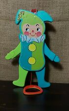 Vintage Fisher Price Pull String Squeaky Jolly Jumping Jack Crib Toy 1969 #145