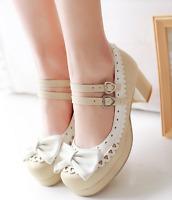 Womens Sweet Lolita Bowknot Ankle Strap Block Heels Mary Jane Pump Shoes Plus SZ