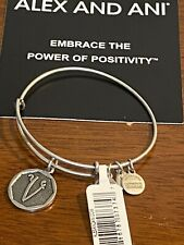 Alex and Ani Initial V Charm Bangle Bracelet Silver New With Tag Card