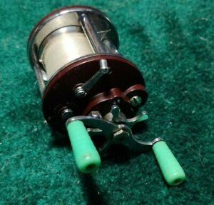 Vintage Penn Peer NO 109 Fishing Reel Green Handles With Line