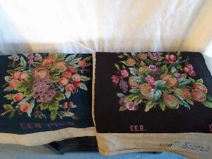 Vintage Needlepoint squares, for chairs, blue and brown 7 PIECES