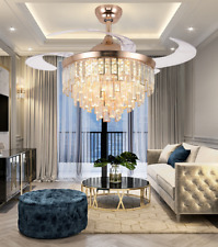 """42"""" Luxury Invisible Led Ceiling Fan Lamp Crystal Gold Chandelier Pendant+remote"""