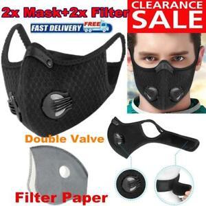 2x Atemschutzmaske Gesichtsmaske Mundschutz 2 Filter Waschbar Staubmaske Sport