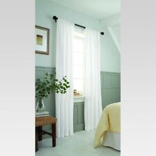 "White Farrah Light Filtering Curtain Panel White (54""x84"") Threshold Farm House"