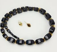 """Napier Black Flat Lucite Modern Chunky 30"""" Necklace and Gold Tone Earrings LOT"""