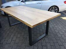 Eiche Esstisch mit Baukanten  200 x 100 cm Rohstahl Gestell sofort lieferbar