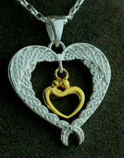 Sterling Silver 925 Yellow Gold Plated Angel Wings Heart Love Pendant Necklace.