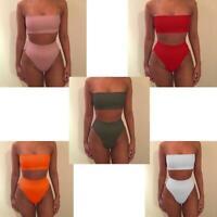 Soutien Gorge Rembourré + Bas Set Bikini Femme Maillots De Bain Push Up Bustier