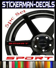SPORT Decal Sticker Wheels Rims Racing Sport car Sticker Emblem logo 5pcs