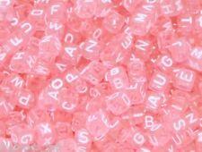 500pcs cube pink acrylic alphabet/ letter acrylic beads 6mm