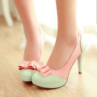 Womens Lolita Bow Sweet Candy Platform High Heel Leather Pumps Shoes Plus Size