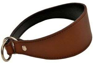 BROWN GREYHOUND LURCHER WHIPPET REAL LEATHER DOG PUPPY SLIP COLLAR CHOKER