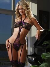 ladies purple lingerie vest black teddy intimate underwear bikini size regular