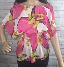 Love Republic Peplum Shirt Large Sheer Pink Floral Yellow Butterfly Sexy Blouse