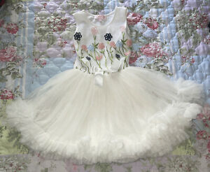 Popatu Embroidered Flowers Floral Tulle Tutu White Birthday Spring Dress 6X/7