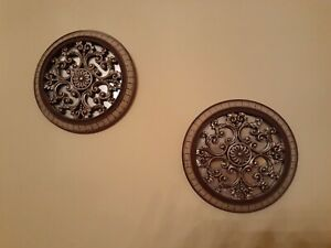 VINTAGE METAL/WOOD MIRRORED WALL ART BRONZE & TAN IN COLOR - SET OF TWO