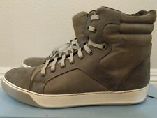 BNIB Vintage Men's LANVIN Grey Leather High Top Sneakers Size US 9 RARE Duster