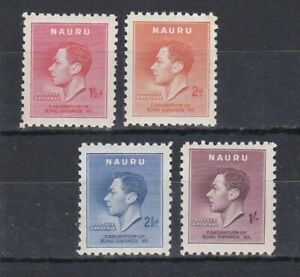 complete set of 4 mint GVI coronation stamps from Nauru. 1937