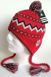 Adidas Indiana University Hoosiers Red Black White Boys Winter Knit Hat Size 4-7