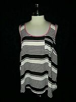 TORRID Plus Size 2 2X Shirt Top Tank Black White Pink Sleeveless