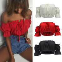 Womens Ladies Frill Bardot Off Shoulder Jumper Ribbed Long Sleeve Crop Tops Hot