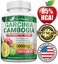 Herbal Beauty GARCINIA CAMBOGIA 95% HCA APPLE CIDER VINEGAR Weight Loss 3000mg